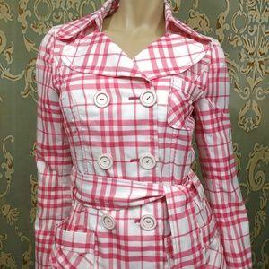 Vero Moda Belted Trench Coat Womens S Pink White